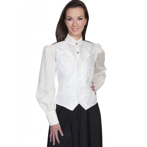 Victorian Style Stripe Vine Vest in Ivory