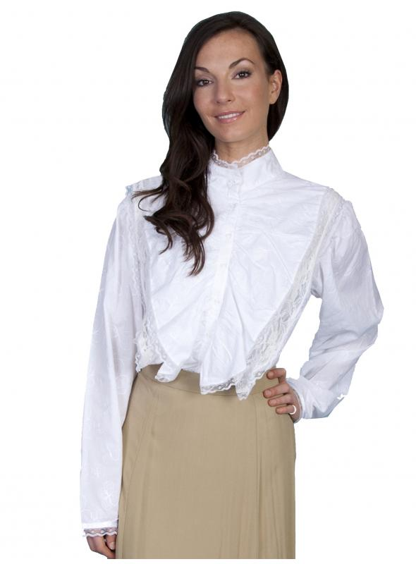 Rangewear Parlor Conversation Blouse in White by Scully Leather