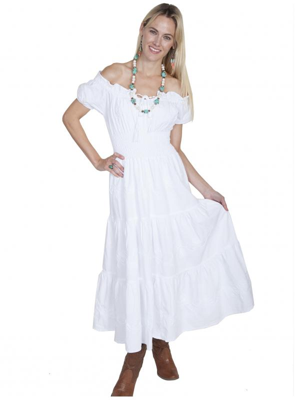 Off-Shoulder Cowgirl Wedding Dress in White by Scully Leather