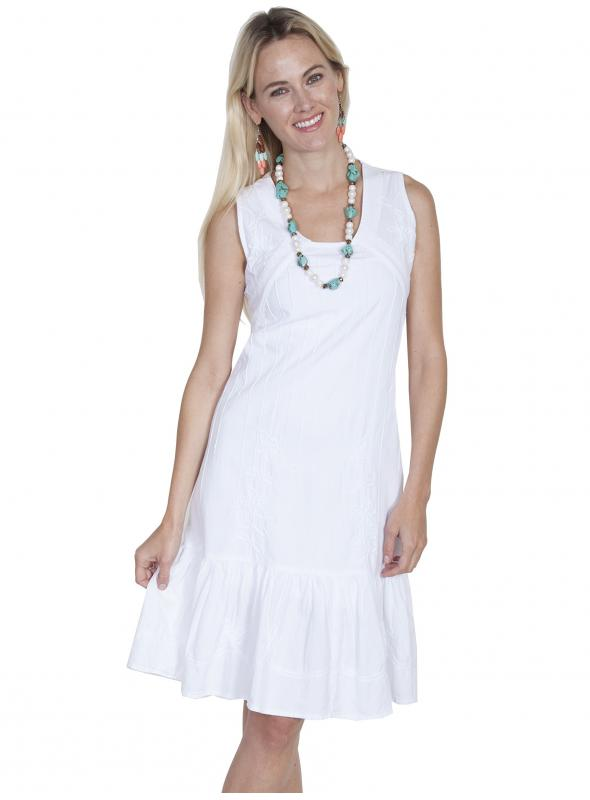 Boho Wedding Sleeveless Dress in White by Scully Leather