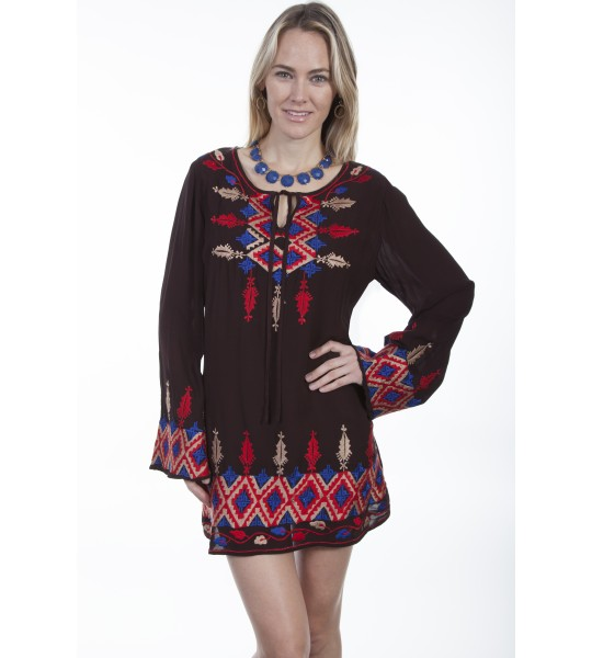 Honey Creek Old West Ethnic Dress in Chocolate by Scully Leather