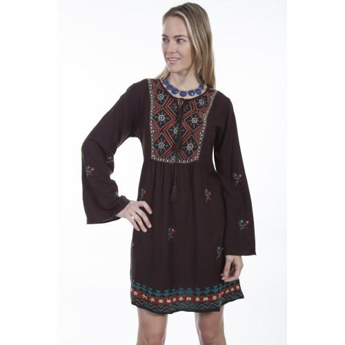 Bohemian Tribal Dress in Chocolate