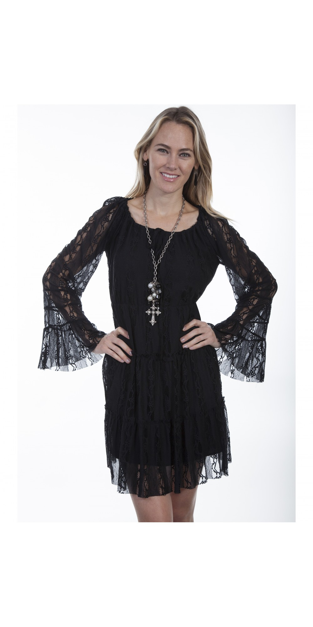 Honey Creek Saddle Up Sweet Cowgirl Dress in Black by Scully Leather