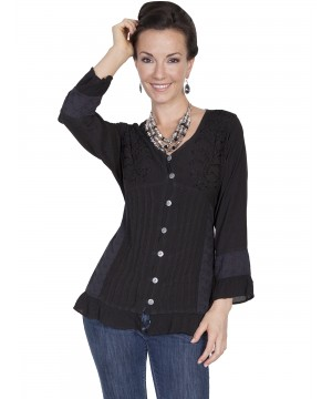 Honey Creek Prairie Ruffled Blouse in Black by Scully Leather