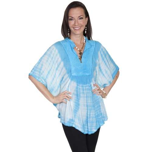 Bohemian Poncho Blouse in Turquoise