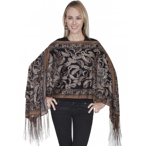 Cowgirl Paisley Burnout Scarf in Brown