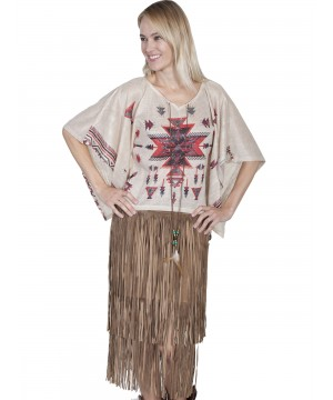 Honey Creek Indian Steppe Poncho Blouse in Red by Scully Leather