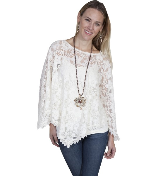 Honey Creek Boho Sweet Lace Poncho in Ivory by Scully Leather