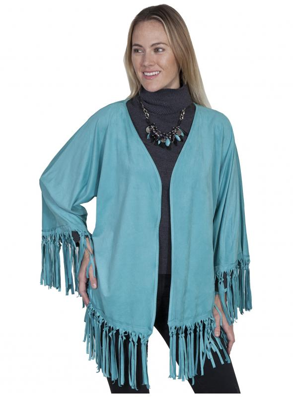 Honey Creek Old West Fringe Wrap in Turquoise by Scully Leather