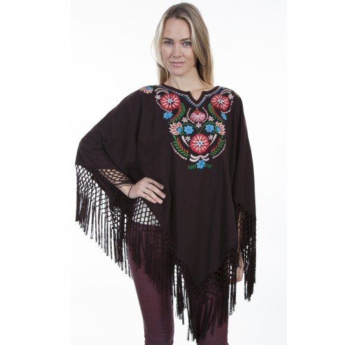 Bohemian Floral Embroidered Poncho in Chocolate