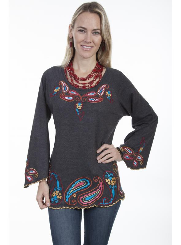 Honey Creek Ethnic Style Tunic in Charcoal by Scully Leather