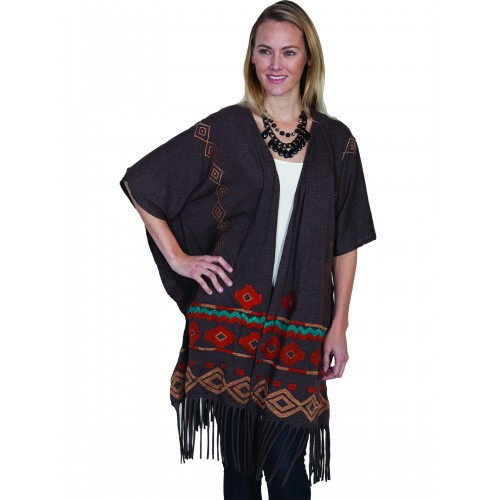 Horse Riding Fringe Embroidered Wrap in Heather Brown