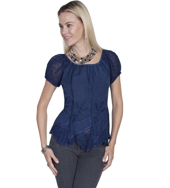 Honey Creek Colorado's Journey Blouse in Blue by Scully Leather