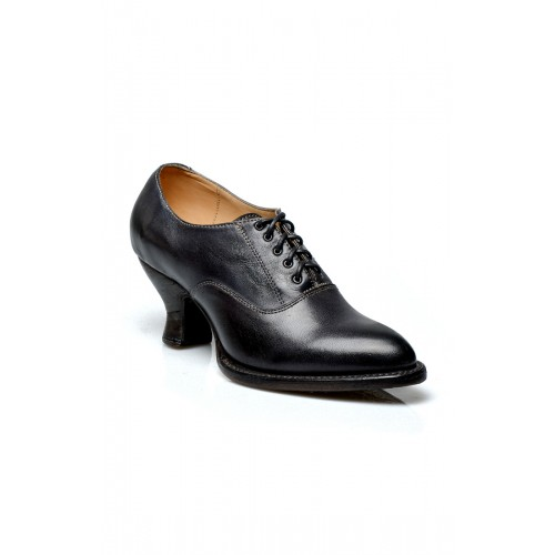 Victorian Style Leather Lace-Up Black Shoes