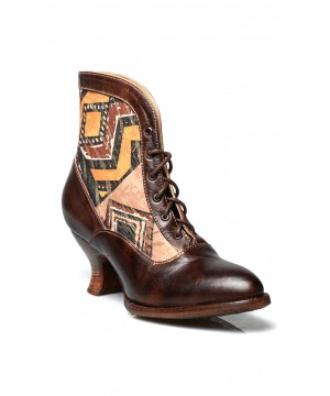 Jacquelyn Vintage Style Victorian Lace Up Leather Boots in Brown Rustic by Oak Tree Farms