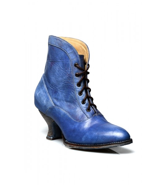 Jacquelyn Vintage Style Victorian Lace Up Leather Boots in Steel Blue by Oak Tree Farms