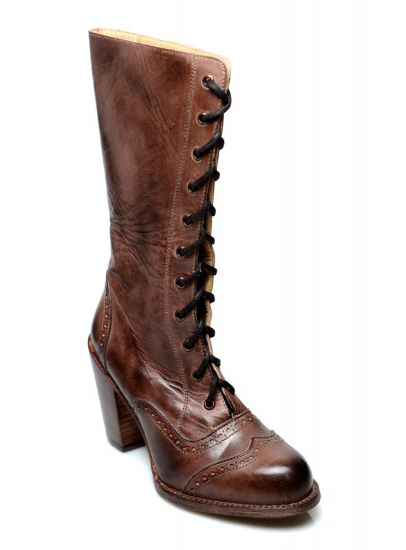 Ariana Victorian Inspired Mid-Calf Leather Boots in Teak Rustic by Oak Tree Farms