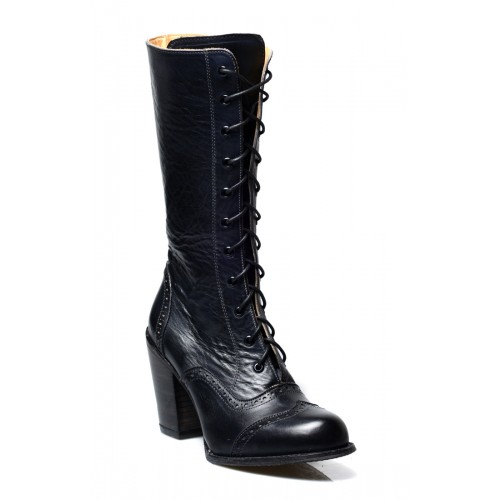 Victorian Inspired Mid-Calf Leather Boots in Black Rustic