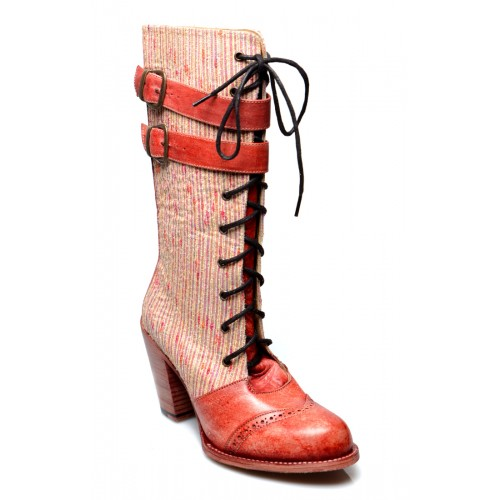 Steampunk Style Mid-Calf Leather Red Boots