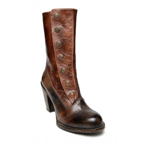 Steampunk Style Mid-Calf Leather Boots in Black Teak