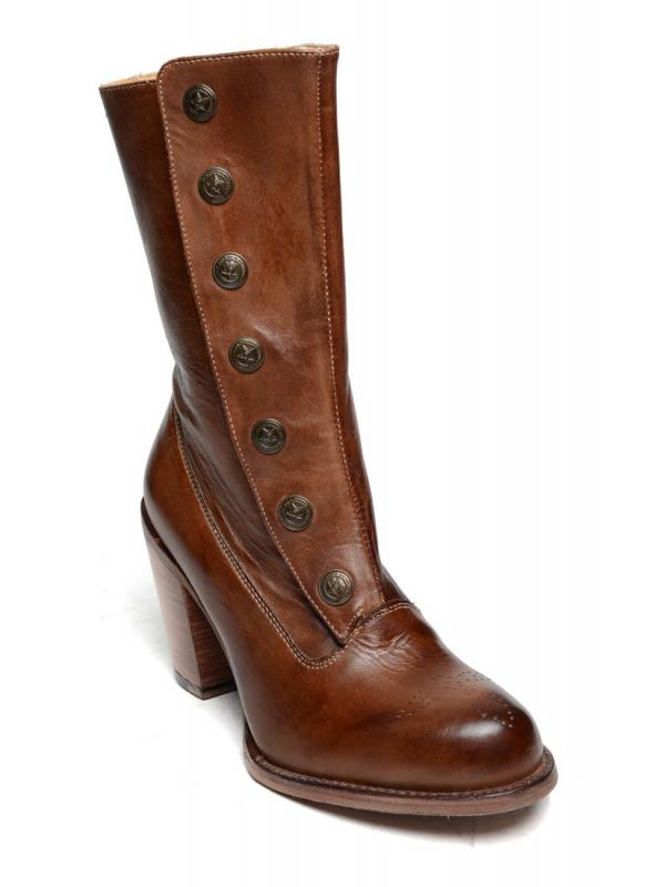 Amelia Steampunk Style Mid-Calf Leather Boots in Tan Rustic by Oak Tree Farms