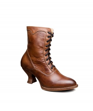 Elizabeth Victorian Inspired Leather Ankle Boots in Tan Rustic by Oak Tree Farms