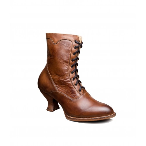 Victorian Inspired Leather Ankle Boots in Tan Rustic