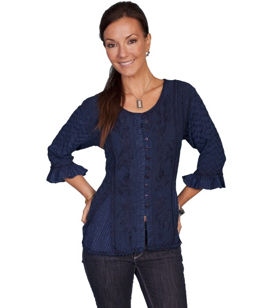 Honey Creek Cowgirl Multi-Fabric Blouse in Blue by Scully Leather
