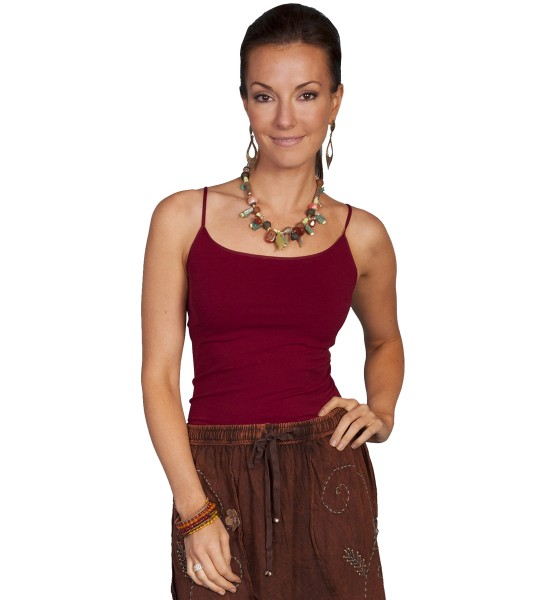 Honey Creek Spring Star Seamless Camisole in Burgundy by Scully Leather
