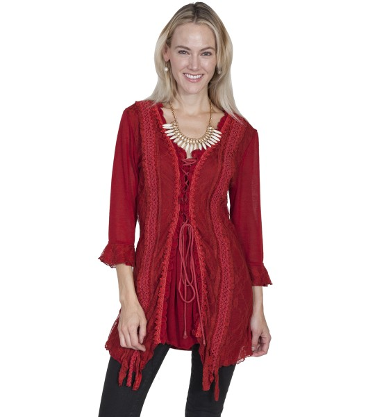 Honey Creek Horse Riding Lace Top in Red by Scully Leather