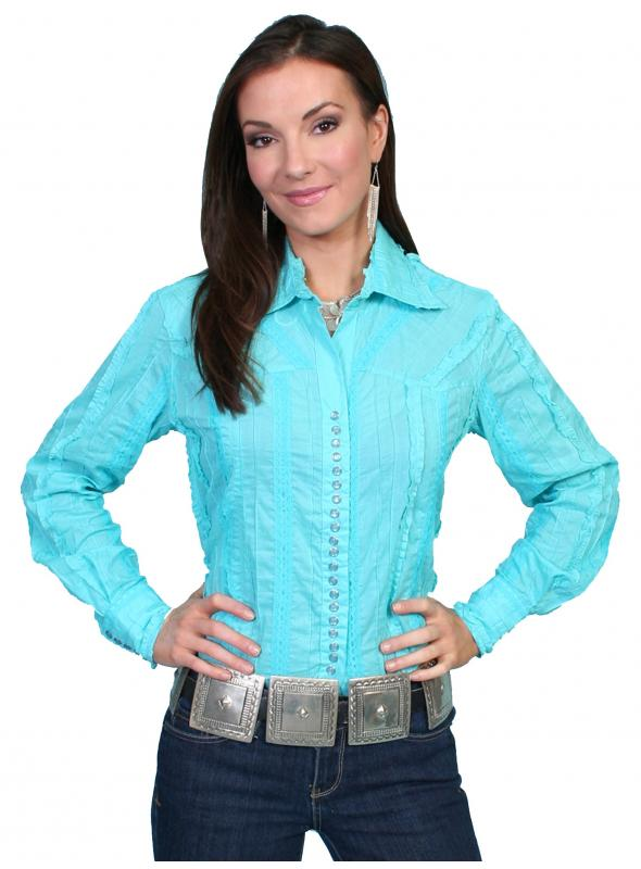 Honey Creek Country Chic Cotton Blouse in Turquoise by Scully Leather