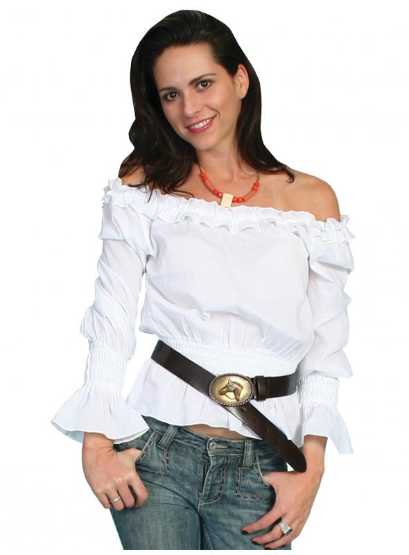 Honey Creek Ranch Style Romantic Peasant Blouse in White by Scully Leather