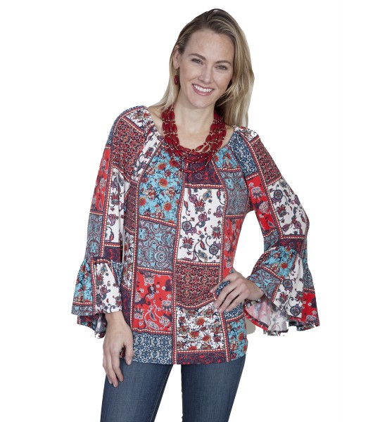 Honey Creek Prairie Colorful Blouse in Multi by Scully Leather