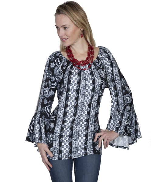 Honey Creek Prairie Black & White Peasant Blouse by Scully Leather