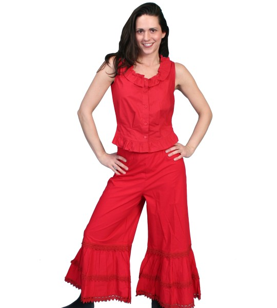 Rangewear Western Style Ruffled Bloomers in Red by Scully Leather