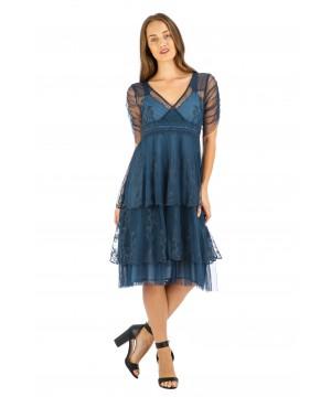 Zoey Vintage Style Party Dress in Indigo by Nataya