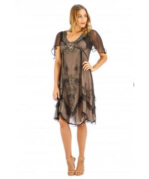 Jacqueline Vintage Style Party Dress in Onyx by Nataya