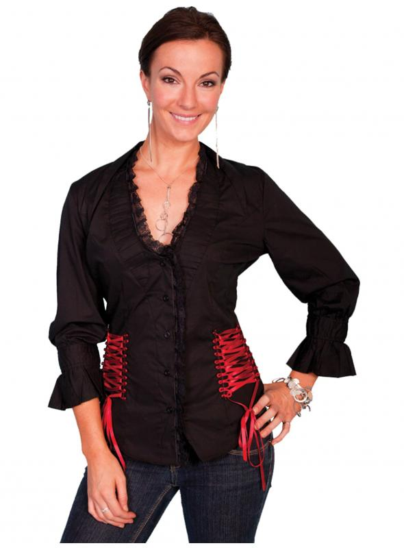 Honey Creek Wild At Heart Ruffled Black Blouse by Scully Leather