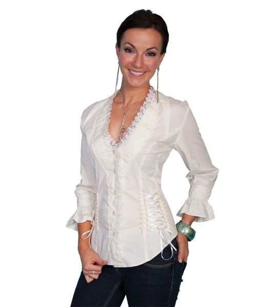Honey Creek Wild At Heart Ruffled Blouse in Cream by Scully Leather