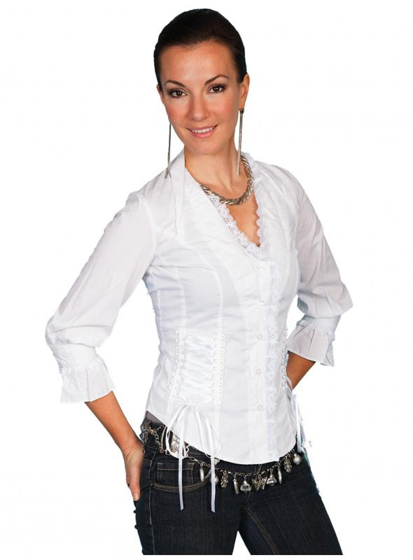 Honey Creek Wild At Heart Ruffled Blouse in White by Scully Leather