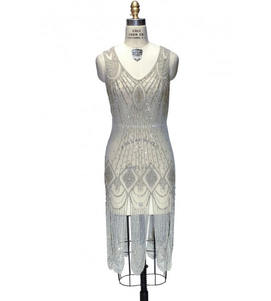 Great Gatsby Cocktail Midi Dress in Champagne by The Deco Haus