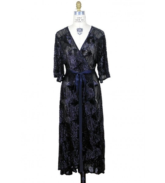Flapper Style Wrap Dress in Kohl by The Deco Haus
