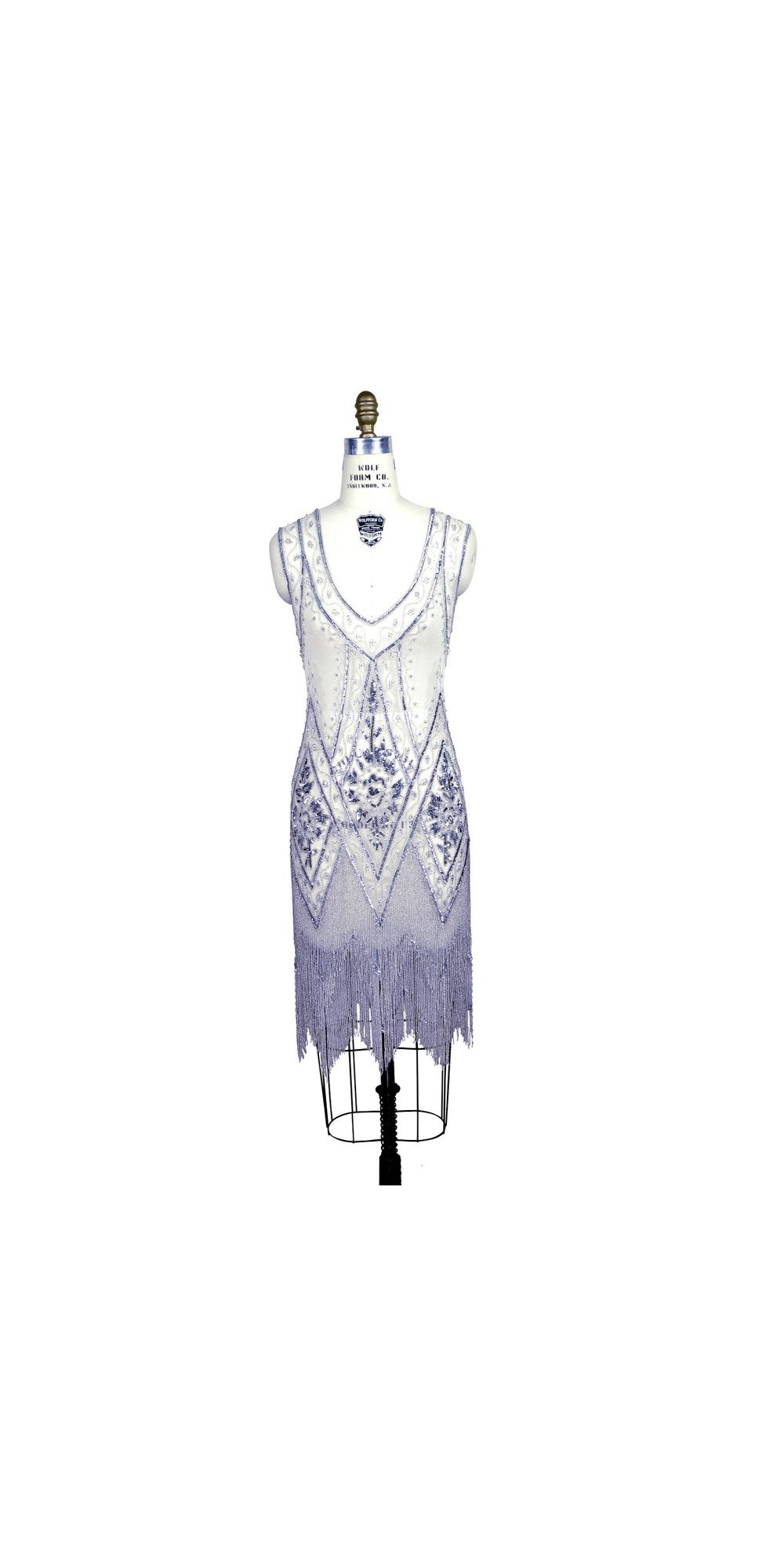 Wolf Haus Reggio Emilia 1920s style fringe party dress in silver/white by the deco haus