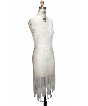 Great Gatsby Cocktail Midi Dress in Cream Bone by The Deco Haus