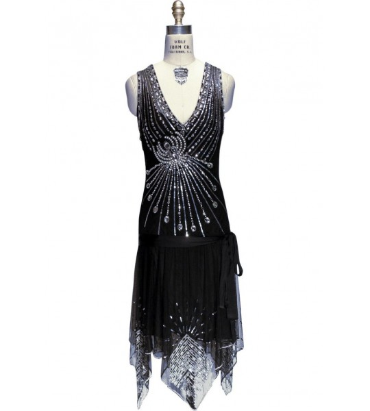 Art Deco Crystal Party Dress in Black Jet by The Deco Haus
