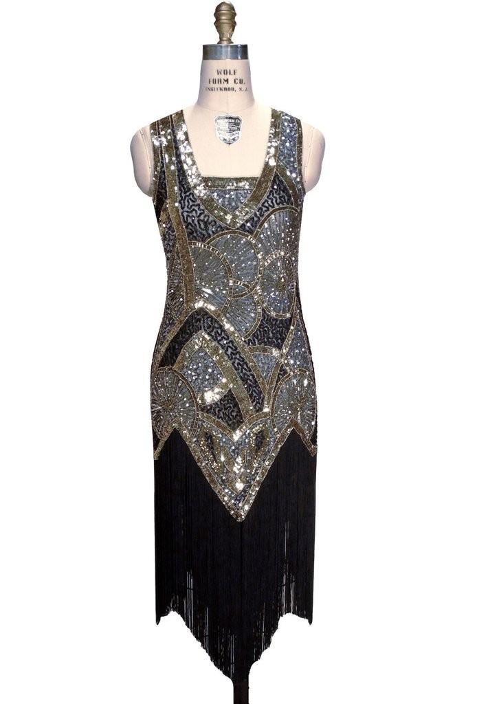 Charleston Art Deco Party Dress in Sapphire
