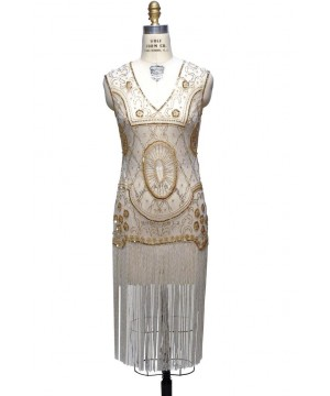 Old Hollywood Glamour Dress in Pearl/Gold by The Deco Haus