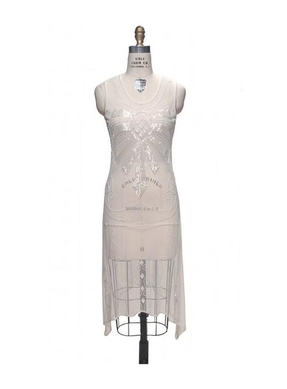 Flapper Style Art Deco Party Dress in Pearl by The Deco Haus