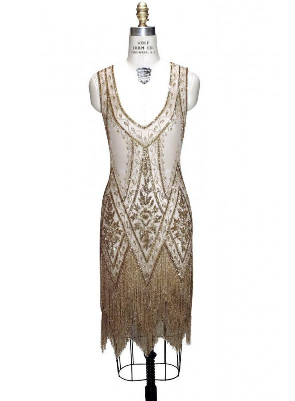 1920s Style Fringe Party Dress in Gold by The Deco Haus