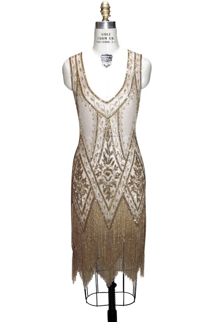 1920s Style Fringe Party Dress in Gold